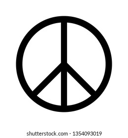 Peace sign circle black white isolate vector