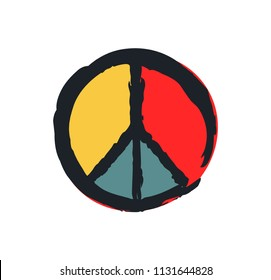 Peace sign colorful drawing isolated on white, vector illustration of hippie symbolism, different color elements and dark frame design, badge layout