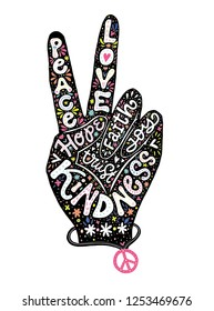 Peace sign creative lettering hand drawn design. Perfect for greeting card, t-shirt design. Hand silhouette with words peace, love, faith, unity, joy, kindness. Concept vector illustration.