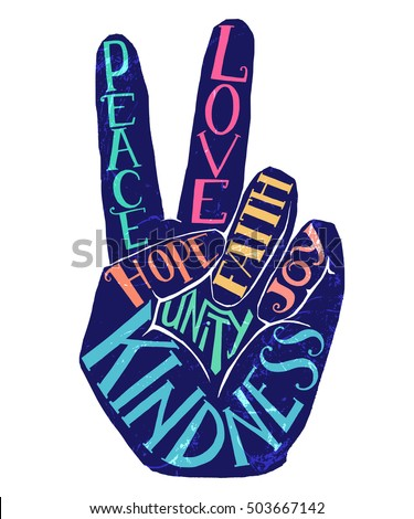 peace sign creative lettering hand drawn stock vector royalty free