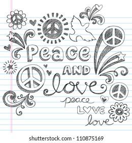 Peace Sign, Dove, and Love Sketchy Notebook Doodles Design Elements on Lined Sketchbook Paper Background- Vector Illustration