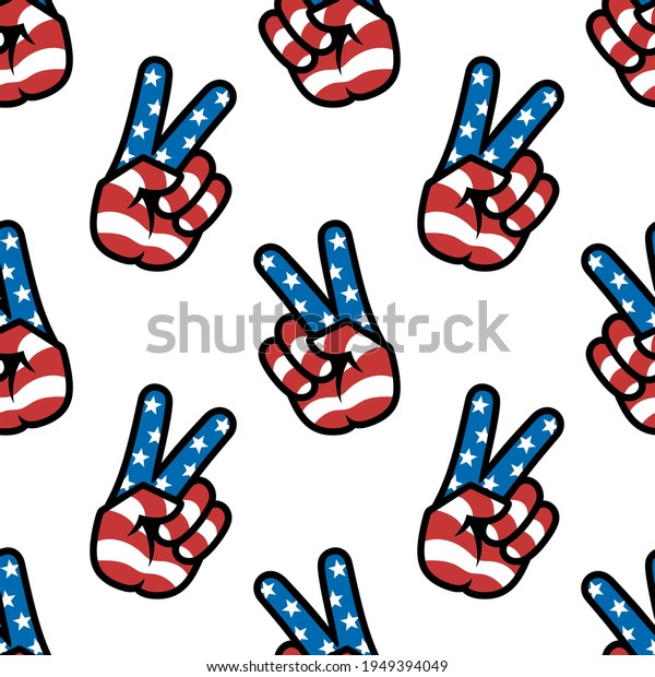 Peace sign. Gesture V victory or peace sign in the colors of the American flag, patriotic sign, seamless background