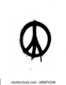peace sign graffiti spray in black over white