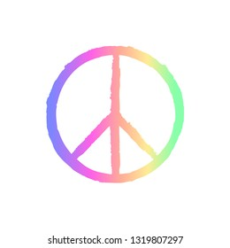 Peace sign with grunge texture isolated on background.
