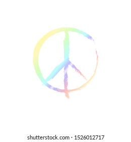 Peace sign with grunge texture isolated on background