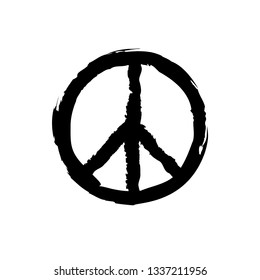 Peace sign with grunge texture. Round hippie sign for printing.