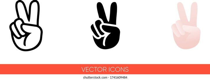 Peace sign hand with fingers icon of 3 types: color, black and white, outline. Isolated vector sign symbol.