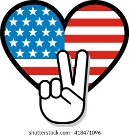 Peace sign hand gesture over American flag.
