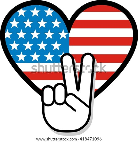 Peace Sign Hand Gesture Over American Stock Vector Royalty Free