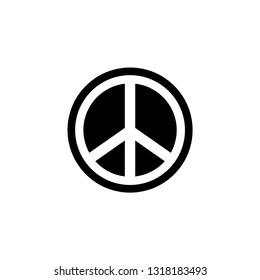 Peace Sign Icon In Flat Style Vector For Apps, UI, Websites. Black Icon Vector Illustration.