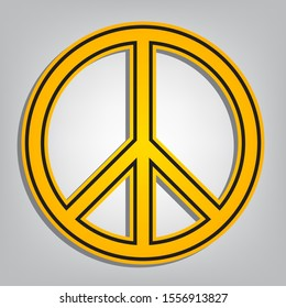 Peace sign illustration. Flat orange icon with overlapping linear black icon with gray shadow at whitish background. Illustration.