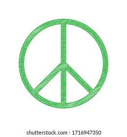 Peace sign illustration. Green scribble Icon with solid contour on white background. Illustration.