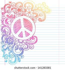 Peace Sign and Love Psychedelic Back to School Sketchy Notebook Doodles- Illustration Design on Lined Sketchbook Paper Background