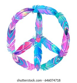 Peace sign made of colored bird feathers. Hippie symbol. Sixties Boho Style. Tribal Native American Indians Motifs. Design for T-shirt. Vector illustration.
