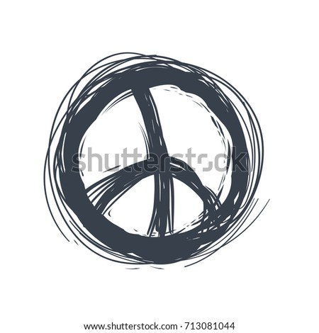 Peace Sign Pacifist Hand Drawn Symbol Stock Vector Royalty Free