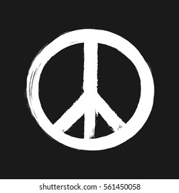 Peace sign painted brush. White hippie logo isolated on black background.  Grunge.
