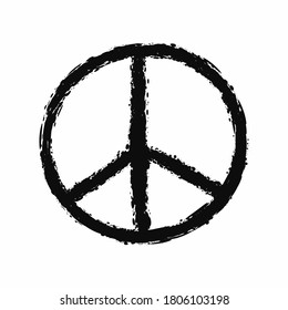 Peace sign painted with a rough brush. Grunge, graffiti, sketch. Vector illustration.