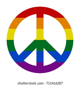 Peace sign in rainbow LGBT colors, vector illustration.