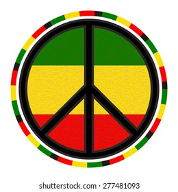 Peace Sign Round Emblem on Background of Rasta Flag Colors. Vector Isolated Symbol.