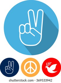 Peace sign  set, flat style