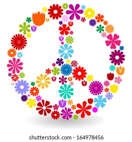 Peace sign or symbol made by colorful flowers with shadow on white