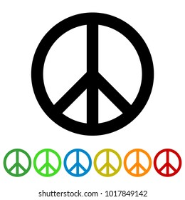 Peace Sign For Websites And Apps - Colorful Vektor Set