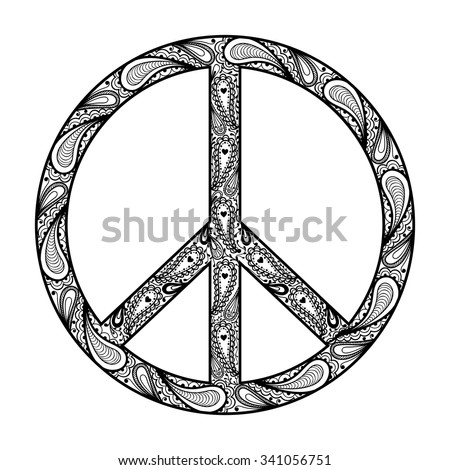 Peace Sign Zentangle Black Symbol Tattoo Stock Vector Royalty Free