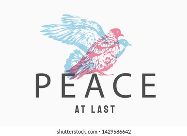 peace slogan with pigeon shadow illustration