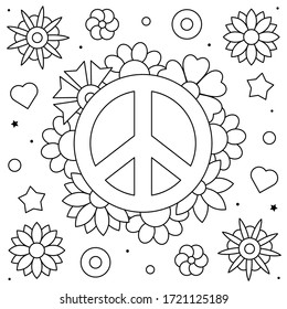 Peace symbol. Coloring page. Black and white vector illustration