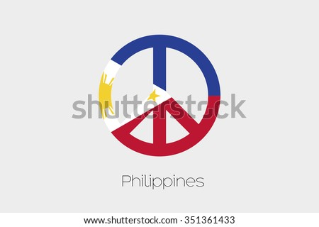 Peace Symbol Flag Philippines Stock Vector Royalty Free 351361433