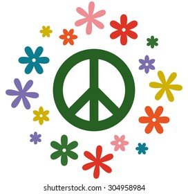 Peace symbol flower power vector illustration isolated