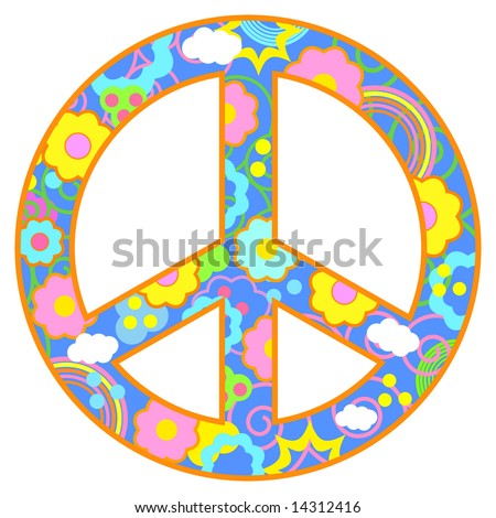 fc0447a55 Peace symbol with flowers, clouds, swirls in a happy color theme. Has blue  background and orange border. - Vector