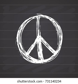 Peace symbol, hand drawn grunge Hippie or pacifist sign, vector illustration isolated on white background .