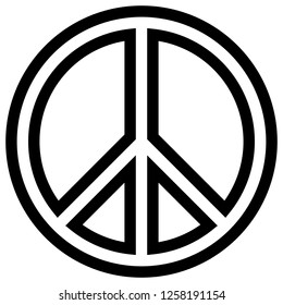 Peace symbol icon - black simple outlined, isolated - vector illustration