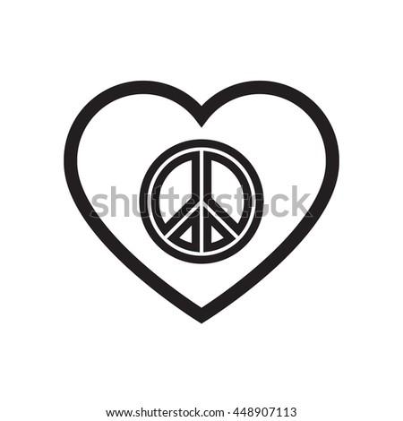 Peace Symbol Inside Heart Shape Sign Peace Stock Vector Royalty
