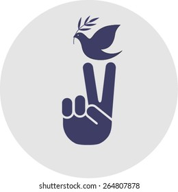 Peace symbol isolated on grey