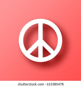 Peace symbol isolated on red background with shadow. Vector illustration, easy to edit.  Template for your design, website, infographic, brochure, cover, business annual report,...
