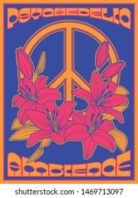 Peace Symbol and Lily Flowers Retro Psychedelic Art Poster Hippie Style