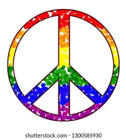 Peace symbol - Nuclear disarmament with Rainbow flag