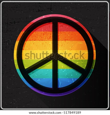 Peace Symbol On Rainbow Flag Inside Stock Vector Royalty Free
