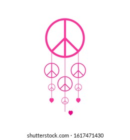 Peace Symbol Vector Icon. peace sign icon. pink color. eps vector