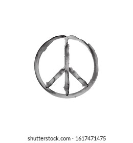 Peace Symbol Vector Icon. peace sign icon. ink brush style