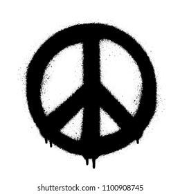 Peace symbol vector icon. Spray art illustration