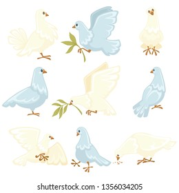 Peace symbol white dove or pigeon isolated animal vector olive branch flying bird wings flight plumage plant twig purity symbolic creature with beak and claws clear plumage wedding ritual