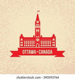 Peace Tower - The symbol Canada. Silhouette of the government building on Parliament Hill, Ottawa, Ontario