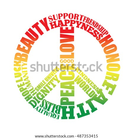 Peace Type Sign Rasta Colors Hippie Stock Vector Royalty Free