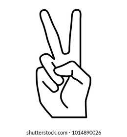 Peace or victory hand gesture line vector icon. Two fingers up. Flat design style