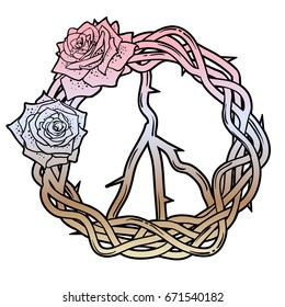 Peace wreath with roses. Isolated, lined, hand-drawn vector illustration.