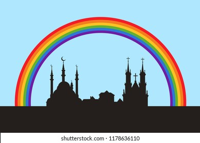 Peaceful coexistence of islam and christianity under colorful positive rainbow. Peace between muslims and christians. Cultural dialogue between religion in the city and town. Vector illustration