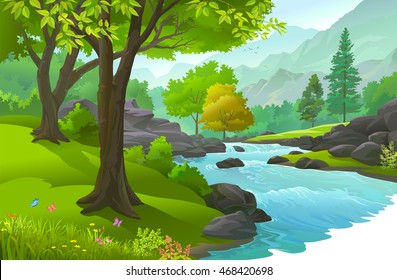 Peaceful forest enriched with the resource of life